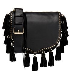 Rebecca Minkoff Small Tassel Crossbody Saddle Bag ($220) ❤ liked on Polyvore featuring bags, handbags, shoulder bags, sacs, black, crossbody purse, leather cross body purse, leather saddle bag purse, leather cross body handbags and cross-body handbag