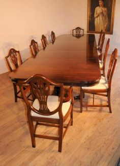 Photo of Mahogany Regency Dining Set Table & Prince Wales Chairs Antique Dining Rooms, Dining Room Furniture, Dining Room Table, Dining Chairs, Deco Furniture, Patio Dining, Table Lamps, Furniture Design, Mahogany Dining Table