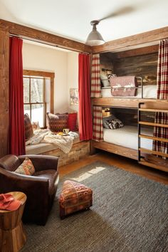 19 Warm And Beauty Bunk Beds With Wooden Wall Design 01 Bunk Bed Rooms, Bunk Beds Built In, Bunk Bed Curtains, Double Bunk Beds, Triple Bunk, Cozy Cabin, Cabin Homes, House Plans, Bedroom Decor