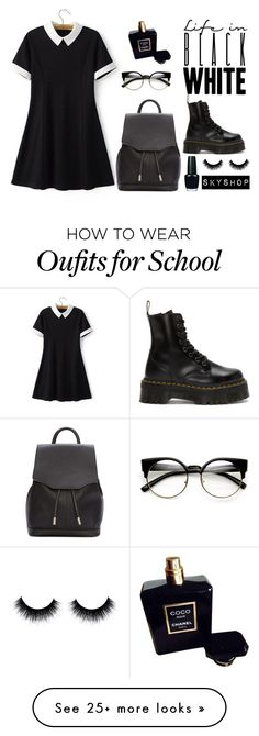 """LOOK FOR SCHOOL"" by averyanova-sabina on Polyvore featuring Chicsense, Dr. Martens, rag & bone, OPI and Chanel"