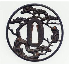 Tsuba with design of monkeys in a pine tree Japanese, Edo Period, mid-late 17th century, MFA