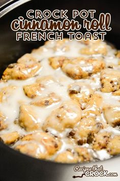 Crockpot Cinnamon Roll With French Toast Recipe: Are you looking for the perfect crock pot recipe for a busy holiday morning or the everyday? This Crock Pot Cinnamon Roll French Toast is one of my all-time favourite breakfast (and dessert) recipes! Crockpot French Toast, Cinnamon Roll French Toast, French Toast Bake, Breakfast Crockpot Recipes, Brunch Recipes, Crockpot Dishes, Crockpot Meals, Crockpot Breakfast Casserole, Casserole Recipes