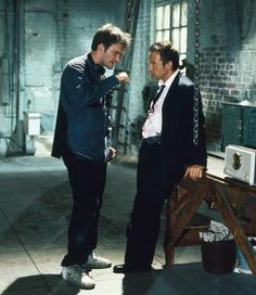 Quentin Tarantino and Harvey Keitel on the set of Reservoir Dogs