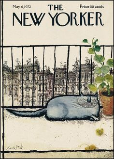 Ronald Searle, Cover illustration, The New Yorker Magazine, may 1972 The New Yorker, New Yorker Covers, Capas New Yorker, Ronald Searle, Magazine Art, Magazine Covers, Cat Drawing, Oeuvre D'art, Crazy Cats