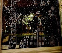 festive window art of chalk pencil. - festive window art of chalk pencil. Chalk Pens, Chalk Art, Elegant Christmas, Christmas Art, Christmas Windows, Christmas Landscape, Simple Christmas, Window Markers, Christmas Window Decorations