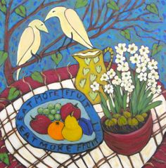 """Eat More Fruit""/""Picnic"" acrylic 24x24"