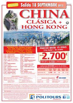CHINA Clásica+Hong Kong, salida 18/09 desde Madrid (15d/12n) p.f. 3.155€ - http://zocotours.com/china-clasicahong-kong-salida-1809-desde-madrid-15d12n-p-f-3-155e/