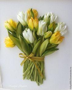 Купить или заказать Желтые тюльпаны в интернет-магазине на Ярмарке Мастеров. Яркий и солнечный букет. Он принесет в ваш дом настроение. Вышивка шелковыми лентами, окрашенными в ручную и тонированными в процессе работы. Авторская работа.