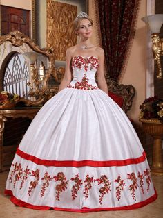 http://www.newquinceaneradresses.com/color/baby pink-quinceanera-dresses  Sweetheart red quinceanera dress with hand made flower