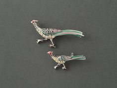 Vintage Scatter Pins Enamel and Rhinestone Pheasants