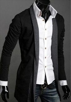 Men's No Button Long Cardigan ~ Colette Le Mason @}-,-;---