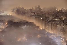 New York at Night    CENTRAL PARK, NEW YORK CITY, USA -- About 2:15 a.m. fog drifts in over Central Park
