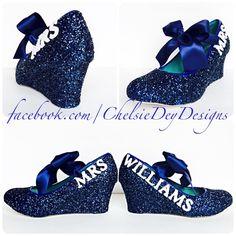 Glitter Wedges - Navy Blue Heels - Dark Blue Wedding Shoes - Last Name Wedding Heels - Sparkly Blue Heels - pinned by pin4etsy.com