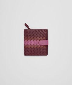 BOTTEGA VENETA バローロ ブリック ピオニー イントレチャート ナッパ クラブ レザー ミニウォレット 二つ折り財布&コイン・カードケース D fp