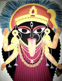 Mother: Kalighat pat style Gouache