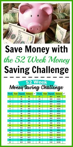 Save Money with the 52 Week Money Saving Challenge- A fun and easy way to save money is with the 52 week money saving challenge. Use my free printable worksheet to get started! #paycheck #freeprintable #frugalliving #savingmoney