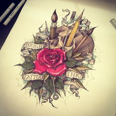 Pencil In Skull With Rose And Banner Tattoo Design