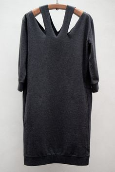 Cutout Neck Sweater Dress — Asphalt