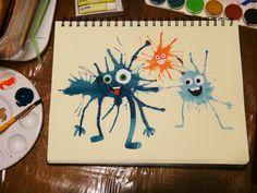 Art Lesson With Little Kids: Watercolor Splatter Monsters Watercolor Splatter, Kids Watercolor, Projects For Kids, Art Projects, Crafts For Kids, Kids Art Class, Art For Kids, Art Lessons Elementary, Monster Art