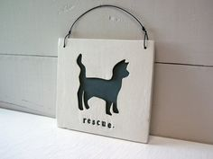 Your place to buy and sell all things handmade Vegan Style, Ceramic Wall Art, Vegan Gifts, Kittens And Puppies, Cat Silhouette, Wire Hangers, Vegan Fashion, Pet Store, Hand Stamped