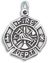 Sterling Silver Firefighter Maltese Cross Charm