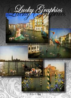 Digital Collage Sheet   Printable Greeting Cards by LuckyGraphics, $3.50