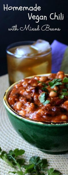Homemade Vegan Chili with Mixed Beans is comforting and full-flavored all at the same time. Packed with spices too for more rich flavor.