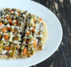 Sushi Pizza- Brown Rice Crust with Nori, braised Asparagus, Zucchini and Wasabi Mayonnaise. | Vegan & Gluten free