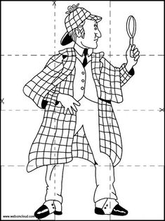 Sherlock Holmes Jigsaw to cut out 10 Drawing Sketches, Sketching, Drawings, Special Agent, Sherlock Holmes, Coloring Pages, Printables, Quote Coloring Pages, Draw