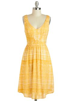 Saffron a Whim Dress. Today, youre going wherever the breeze takes you, and in this delightfully light, sunshine-hued dress, you feel carefree and fun! #yellow #modcloth