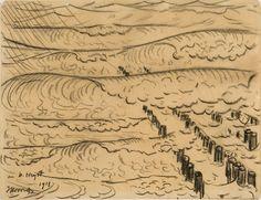 Deze tekening van Jan Toorop uit 1913 is de ' missing link' tussen het symbolische, modernistische werk van Toorop en de compositie Pier en oceaan van Piet Mondriaan. Toorop tekent dezelfde zee met strand en paalhoofden van het strand in Domburg. Hier ontstaat al een spel van horizontalen en verticalen in de kosmische gedachtenwereld van Toorop.