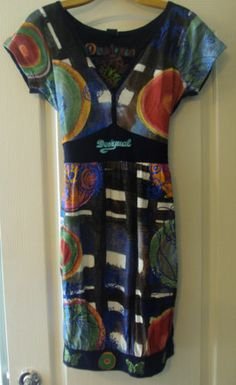 Women's Desiguel L Large Vibrant Print Butterfly Tie Back Cotton SS Dress | eBay
