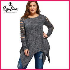 AZULINA Plus Size 5XL 4XL T-shirt Women Long Sleeves 2017 Autumn Winter Marled Ripped Sleeve Handkerchief Long Top Tees Casual