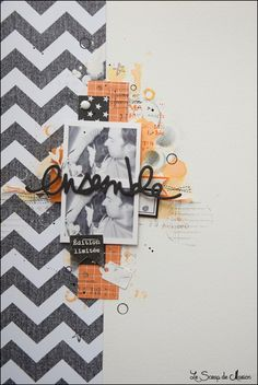 8.5 x 11 scrapbook layout Orange and grey  marionD