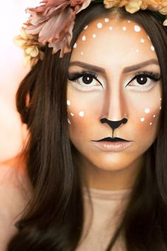 fasching karneval reh-rehkitz-make-up-inspiration-flecken Carnaval carnaval spots d'inspiration Deer Halloween Makeup, Deer Halloween Costumes, Deer Makeup, Halloween Makeup Looks, Deer Costume Makeup, Bambi Makeup, Deer Costume Diy, Faun Makeup, Halloween Ideas