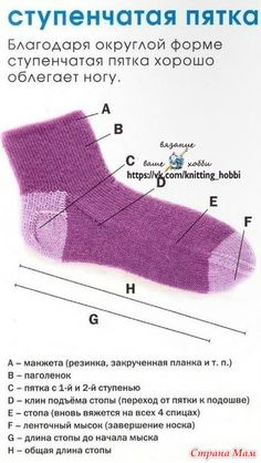 Носок -- ступенчатая пятка Knitting Socks, Knitting Stitches, Knitting Patterns, Sewing Patterns, Knit Socks, Crochet Slipper Boots, Knitted Slippers, Boots With Leg Warmers, Knitted Bunnies