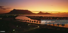 Stock Photo : Sunset overlooking the lagoon and Woodbridge Island with Table Mountain in the distance. Milnerton, Cape Peninsula, Western Cape Province, South Africa