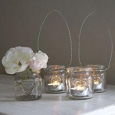 Small Heart Glass Hanging Tealight Holder