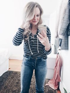nautical stripes and tie up shirt OOTD - Andreaclare