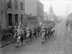 Gordon Highlanders Pipers (possibly 1-7th Battalion)153rd Brigade in Douchy-lès-Ayette October 1918