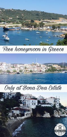 Claim your free honeymoon in Greece when you book your wedding at Bona Dea Private Estate. Greece Honeymoon, Skiathos, Beautiful Islands, Greek Islands, Perfect Wedding, Wedding Venues, Book, Water, Free