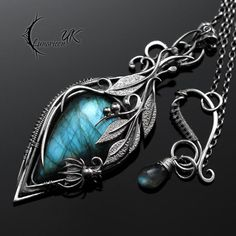 Sapphire Gemstone Pave Diamond Dangle Earrings 14 K Gold Sterling Silver Jewelry Clay Jewelry, Jewelry Art, Pendant Jewelry, Jewelry Accessories, Jewelry Design, Jewellery, Fantasy Jewelry, Gothic Jewelry, Clean Gold Jewelry
