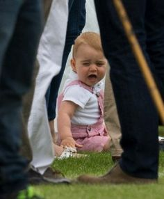Unhappy Prince George during the Jerudong Trophy Polo match 2014 in Cirencester