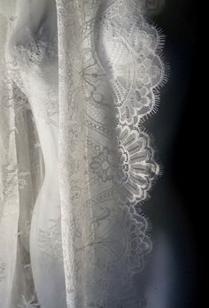 Chantilly Lace from Spain in Ivory Creme for Bridal Gowns, Mantillas, Lingerie, Shrugs, Shawls, Veils SP1cr. $85.00, via Etsy.