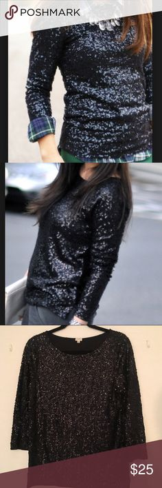 """J. Crew Black Sequin Top EUC. Fits true to size. All sequin is intact with no damage. Bust: 18"""" Length: 25"""" J. Crew Tops"""
