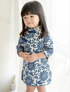 Cute Blue 100% Cotton Floral Pattern Kid's Qipao - iDreamMart.com