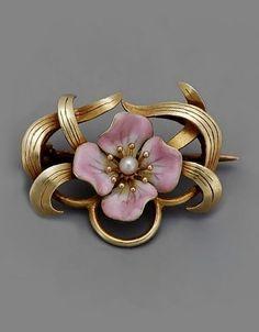Art Nouveau Enamel Pearl Pin.