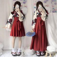Robe Kimono Japonaise - Femme Kimono Outfit, Kimono Fashion, Lolita Fashion, Look Fashion, Kimono Style Dress, Kimono Shirt, Shirt Skirt, Fashion Styles, Street Fashion