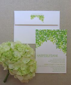 Hanging vines wedding invitation, modern weddings, custom wedding stationery, green wedding design