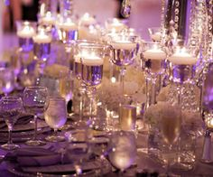 White and clear elegant tablescape on amythest cloth